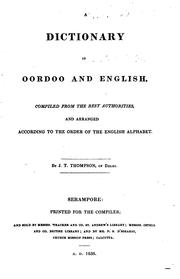 Cover of: A dictionary of Oordoo and English by Joseph T. Thompson
