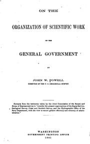 Cover of: On the organization of scientific work of the general government