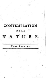 Cover of: Contemplation de la nature