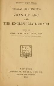 Cover of: Thomas De Quincey's Joan of Arc and the English mail-coach
