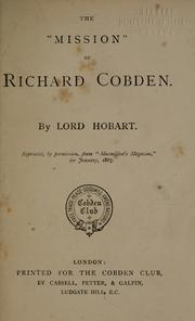 Cover of: The mission of Richard Cobden