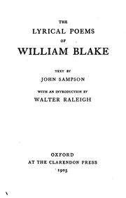 Cover of: The lyrical poems of William Blake