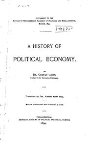 Cover of: A history of political economy