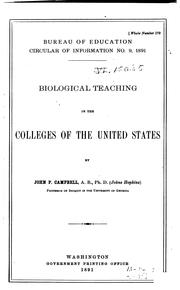 Cover of: Biological teaching in the colleges of the United States | John Pendleton Campbell