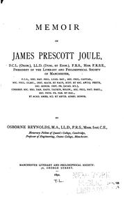 Cover of: Memoir of James Prescott Joule