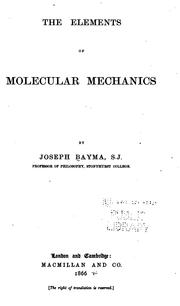 Cover of: The elements of molecular mechanics