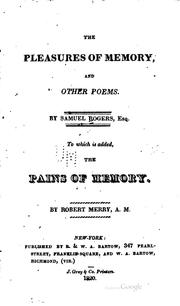Cover of: The pleasures of memory, and other poems