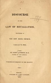 Cover of: A discourse on the law of retaliation