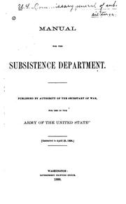 Cover of: Manual for the Subsistence Department. | United States. Subsistence Dept.