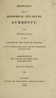 Cover of: Proposals for an economical and secure currency