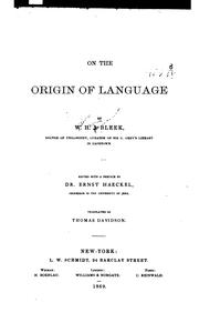 Cover of: On the origin of language | W. H. I. Bleek