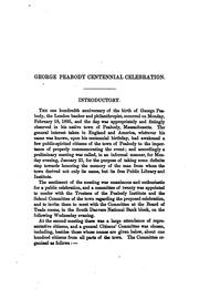 Report of the centennial celebration of the birth of George Peabody by Peabody (Mass.). Citizens.