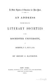 Cover of: A state system of education for New York