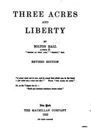 Cover of: Three Acres and Liberty