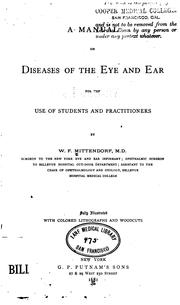 Cover of: manual on diseases of the eye and ear | William F. Mittendorf