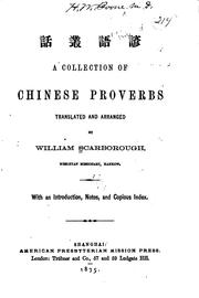 Cover of: A collection of Chinese proverbs. | W. Scarborough