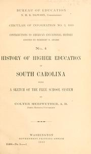 Cover of: History of higher education in South Carolina | Colyer Meriwether