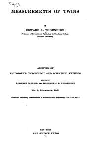 Cover of: Measurements of twins