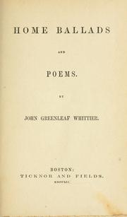 Cover of: Home ballads and poems
