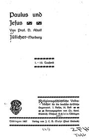 Cover of: Paulus und Jesus by Adolf Jülicher