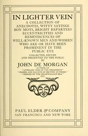 Cover of: In lighter vein | John De Morgan