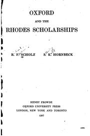 Oxford and the Rhodes scholarships by R. F. Scholz