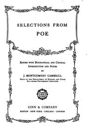 Cover of: Selections from Poe: edited with introduction, notes and study helps