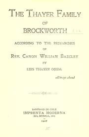 Cover of: The Thayer family of Brockworth