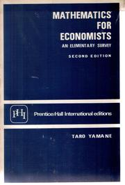Cover of: Mathematics for economists by Taro Yamane