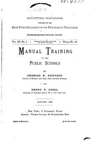 Manual training in elementary schools for boys
