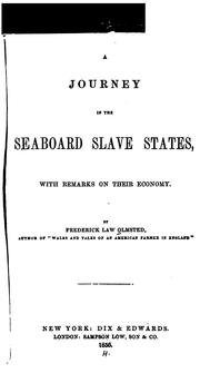 Cover of: A journey in the seaboard slave states