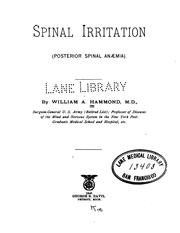 Cover of: Spinal irritation: (posterior spinal anæmia)