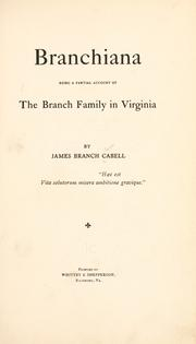 Cover of: Branchiana | James Branch Cabell