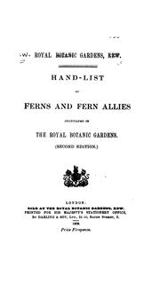 Cover of: Hand-list of ferns and fern allies cultivated in the Royal Botanic Gardens