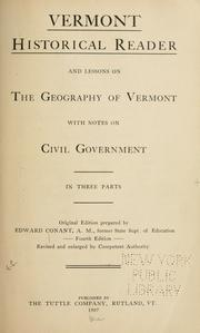 Cover of: Vermont historical reader