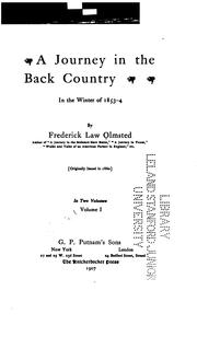 Cover of: A journey in the back country in the winter of 1853-4