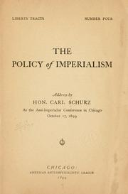 Cover of: The policy of imperialism | Carl Schurz