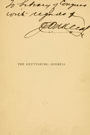 Cover of: An analysis of the Gettysburg address