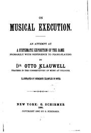 Cover of: On musical execution