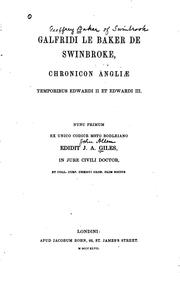 Cover of: Galfridi le Baker de Swinbroke Chronicon Angliae temporibus Edwardi II et Edwardi III