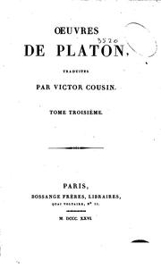 Cover of: Oeuvres de Platon