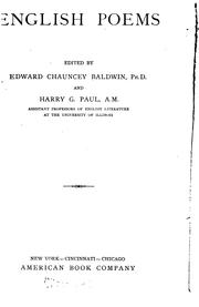 Cover of: English poems | Edward Chauncey Baldwin