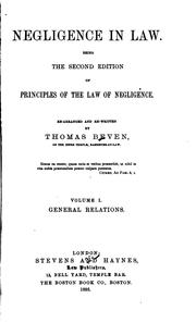 Cover of: Negligence in law | Beven, Thomas