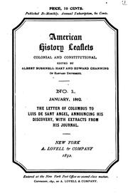 Cover of: The letter of Columbus to Luis de Sant Angel: announcing his discovery, with extracts from his journal.