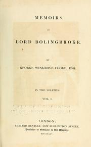Cover of: Memoirs of Lord Bolingbroke