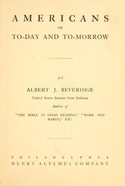 Cover of: Americans of to-day and to-morrow