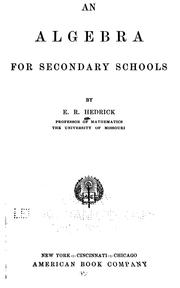 Cover of: An algebra for secondary schools
