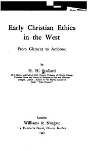 Cover of: Early Christian ethics in the West, from Clement to Ambrose | Herbert Hayes Scullard