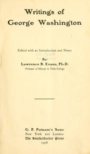 Cover of: The writings of George Washington