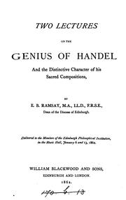 Cover of: Two lectures on the genius of Handel | E. B. Ramsay